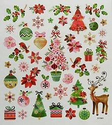 Papier - Sada samolepiek, 15x17 cm, vianočné, sob, stromčeky - 10213872_