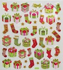 Papier - Sada samolepiek, 15x17 cm, vianočné, ponožka, darček - 10214721_