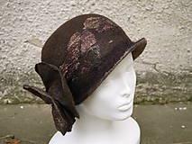 Čiapky - Plstený klobúk dámsky-hnedý - 10215031_
