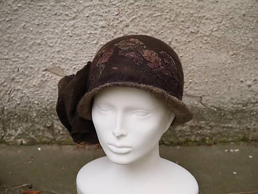 Plstený klobúk dámsky-hnedý
