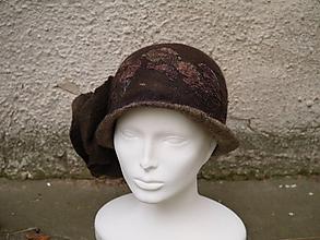 Čiapky - Plstený klobúk dámsky-hnedý - 10215030_