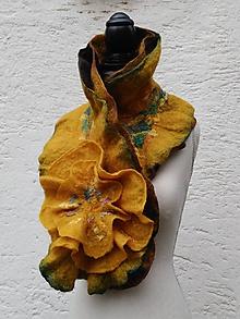 Šály - Romantický vlnený šál-žltý - 10216401_