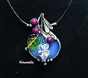 Náhrdelníky - Fialka - opalit, vinutá perla - 10215406_