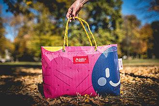 Veľké tašky - Úsmev ako dar - DORKA bag (Modrý smajlík) - 10212434_