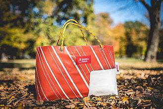 Veľké tašky - Úsmev ako dar - DORKA bag (Oranžový pásik) - 10212439_