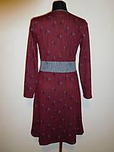 Šaty - Bordové s šedou - 10215014_