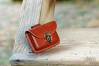Taštičky - Kožená kapsička na opasok - hrúbka 1,5 cm (Hnedá) - 10212915_