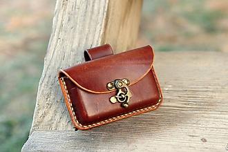 Taštičky - Kožená kapsička na opasok - hrúbka 1,5 cm (Mahagon) - 10212919_