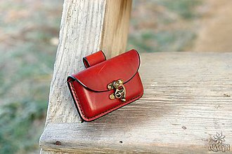 Taštičky - Kožená kapsička na opasok (Bordová) - 10212921_