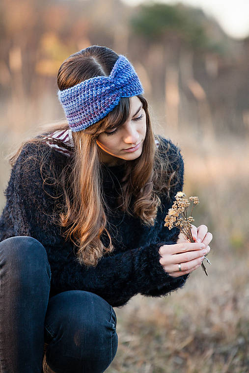 Čiapky - Modro-fialová čelenka - 10212503_