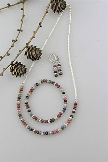 Sady šperkov - rubín + zafír náhrdelník náramok náušnice - súprava v striebre Ag925 - 10214669_