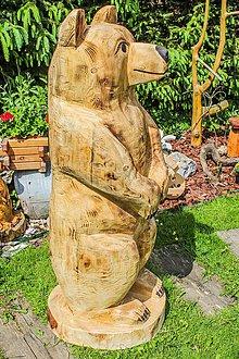 Socha - záhradná dekorácia drevorezba medved 100 cm - 10215926_