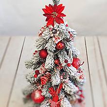 Dekorácie - Zasnežený vianočný stromček so svetielkami ... zamrznuté jabĺčka ... - 10212992_