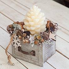 Dekorácie - Vianočný svietnik prírodný - 10213009_