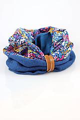 Šály - Pestrofarebný štýlový nákrčník z ľanu a kvetinovej bavlny