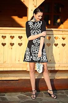 Šaty - Čierne vyšívané šaty Slavianka - 10213413_