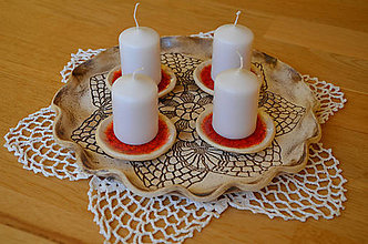 Dekorácie - Adventní svícen s krajkou XI. - 10213893_