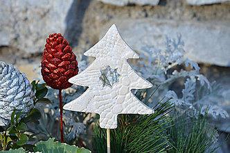 Dekorácie - Stromek bílý II. ....zápich do květináče - 10214933_