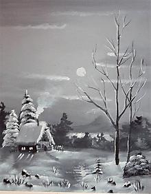 Obrazy - Chata na okraji zimného lesa - 10214487_