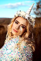 Ozdoby do vlasov - Kvetinový venček Jednorožec Halloween - 10216444_