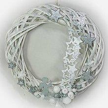 Dekorácie - Vánoční věnec - Moderní stříbrno-bílá - 10215490_