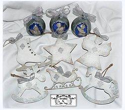 """Dekorácie - Drevené ozdôbky """"Silver ornaments"""" :) - 10216461_"""