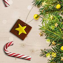Dekorácie - FIMO vianočná ozdoba čokoládka - hviezdička - 10213189_