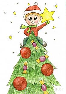 Kresby - Už chýba len vianočná hviezda - 10215993_