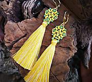 Náušnice - Šité náušnice žlto-zelené,Swarovski, žltý strapec - 10214113_