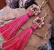 Náušnice - Šité náušnice červeno-zlaté, červený strapec - 10214477_