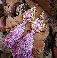Náušnice - Náušnice fialovo-zlaté, mosadz - 10214024_