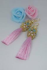 Náušnice - Šité korálkové náušnice so strapcom, Ružová/Modrá/Zlatá - 10218147_