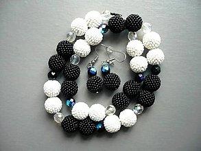 Náhrdelníky - Černobílé korále - 10218356_