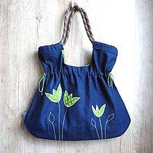 Kabelky - Kabelka s lezeckým lanom / zelené tulipány - 10216873_