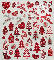 Papier - Sada samolepiek, 15x17 cm, vianočné, domček, stromčeky - 10216761_