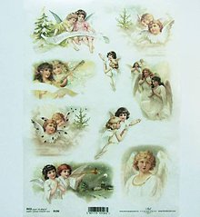 Nezaradené - Ryžový papier na decoupage -A4-R196 - Vianoce, anjeli - 10217561_