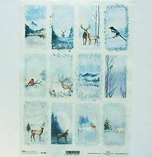 Nezaradené - Ryžový papier na decoupage -A4-R1499-Vianoce, zima, sneh - 10217699_