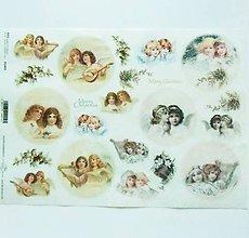 Nezaradené - Ryžový papier na decoupage -A4-R1493-Vianoce, anjelky - 10218748_