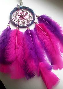 Dekorácie - Lapač snov v ružovo - fialovej farbe - 10218448_