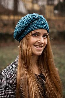 Čiapky - Smaragdový baret čiapka - 10219208_
