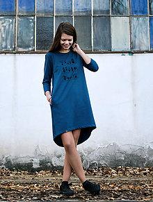 Šaty - Šaty s delším rukávem - modré pokojovky - 10217619_