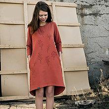Šaty - Šaty s delším rukávem – oranžové šípky - 10217642_