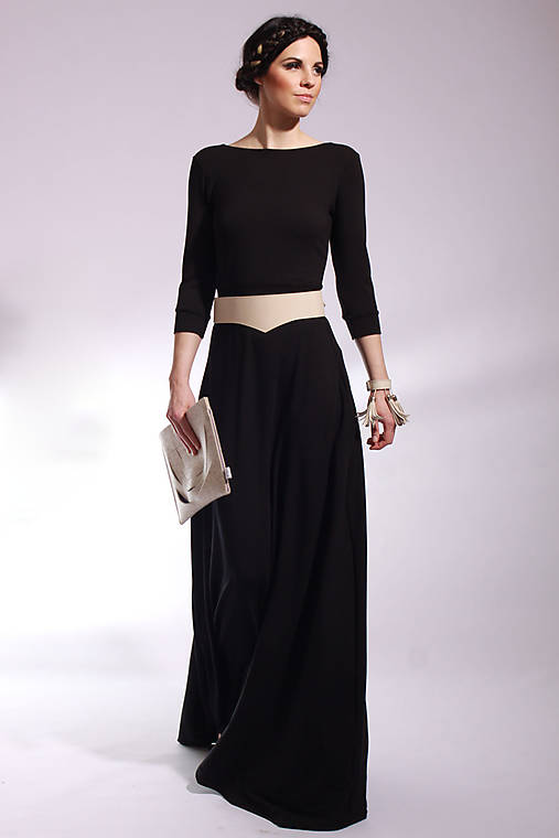 0097f512c MIESTNE dlhé čierne šaty / LOCO - SAShE.sk - Handmade Šaty