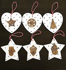 Dekorácie - Sada vianočných ozdôb - biela s bodkami - 10218423_