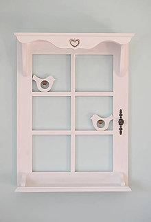Nábytok - Polica okno 2 (Biela s vtáčikom) - 10219724_
