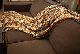 Úžitkový textil - Obývačkový set Deka a Vankúše, OEKO-TEX® (Hnedá) - 10217755_