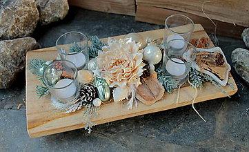 Svietidlá a sviečky - adventný veniec_ teakové drevo s béžovou - 10217167_