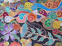 Šatky - V nočnej záhrade- hodvábna maľovaná šatka - 10218211_