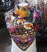 Šatky - V nočnej záhrade- hodvábna maľovaná šatka - 10218433_