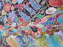 Šatky - V nočnej záhrade- hodvábna maľovaná šatka - 10218436_